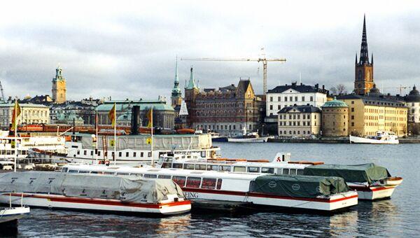 Вид на Стокгольм с причала. Архивное фото
