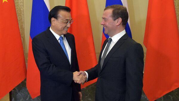 Председатель правительства РФ Дмитрий Медведев и премьер Госсовета КНР Ли Кэцян во время 21-й регулярной встречи глав правительств России и Китая в Санкт-Петербурге. 7 ноября 2016