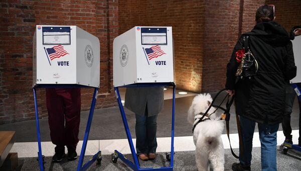 Избиратели голосуют на избирательном участке у Бруклинского музея в Нью-Йорке