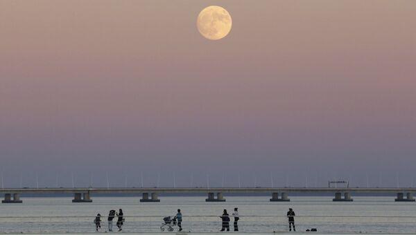 Люди прогуливаются вдоль реки Тежу на фоне луны в Лиссабоне, Португалия. 13 ноября 2016