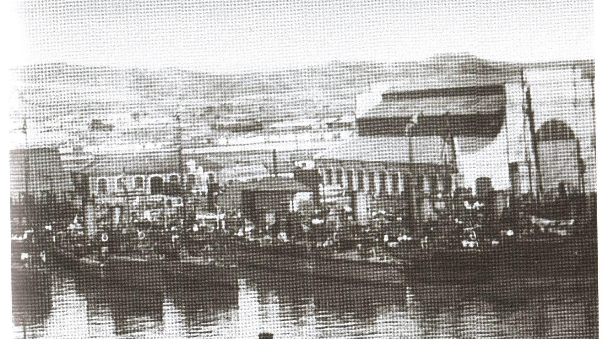 Русские миноносцы в гавани Порт-Артура. 1904 год  - РИА Новости, 1920, 22.10.2020