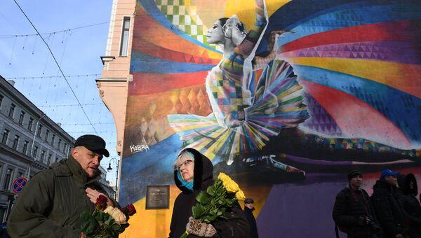На открытии памятника балерине Майе Плисецкой на улице Большая Дмитровка