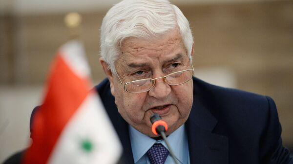 Министр иностранных дел Сирии Валид Муаллем во время российско-сирийских переговоров в Дамаске