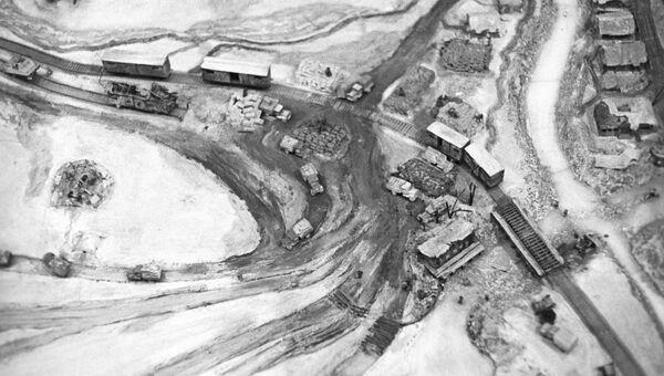 Макет перевалочного пункта в деревне Кобона, из которого доставлялись грузы по дороге жизни в блокадный Ленинград