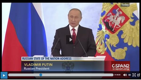 Скриншот послания В.В. Путина федеральному собранию, показанный на канале C-SPAN