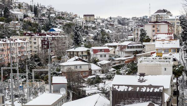 Снегопад в Сочи. Архивное фото
