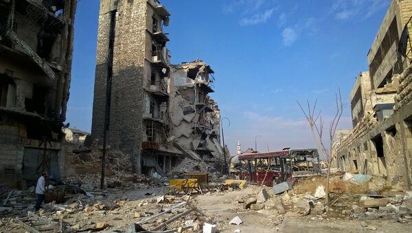Здания, разрушенные в ходе боевых действий в Сирии. Архивное фото