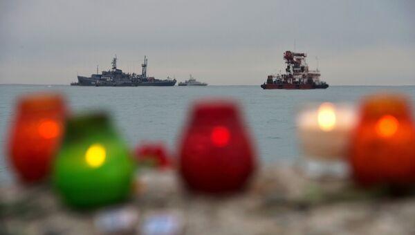Поисково-спасательные работы у побережья Черного моря, где потерпел крушение самолет Минобороны РФ Ту-154. Архивное фото