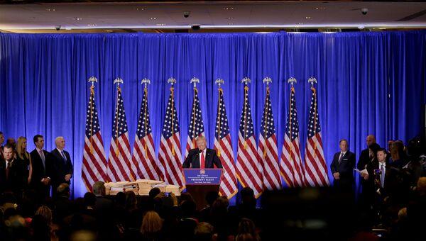 Избранный президент США Дональд Трамп во время первой официальной пресс-конференции в Нью-Йорке.  Архивное фото