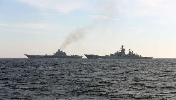 Российские корабли Петр Великий и Адмирал Кузнецов