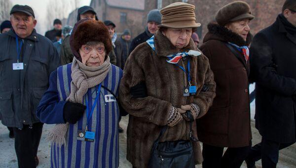 Бывшие узники концентрационного лагеря и лагеря смерти Аушвиц-Биркенау. Польша, 27 января 2017
