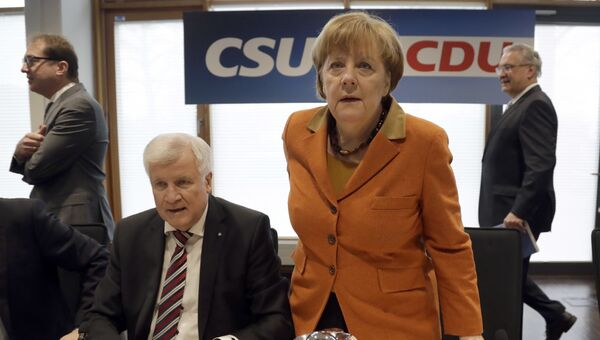 Канцлер Германии Ангела Меркель на совместном заседании президиумов партии Меркель ХДС и ХСС в Мюнхене