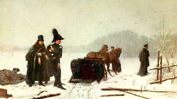 Картина Алексея Наумов Дуэль Пушкина с Дантесом. Архив