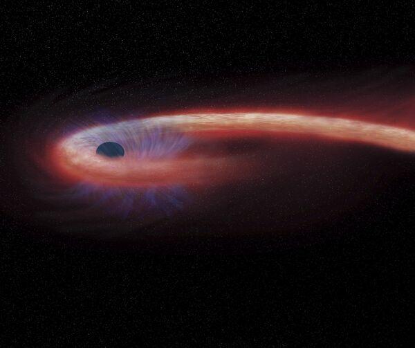 Так художник представил себе суперпрожорливую черную дыру в созвездии Девы