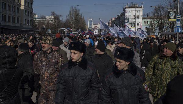 Прощание с командиром батальона ополчения ДНР Сомали Михаилом Толстых (позывной Гиви) в Донецке
