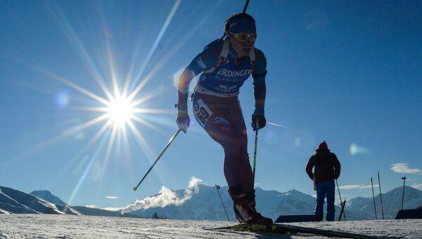 Светлана Слепцова (Россия) на дистанции спринта среди женщин чемпионата мира по биатлону в австрийском Хохфильцене