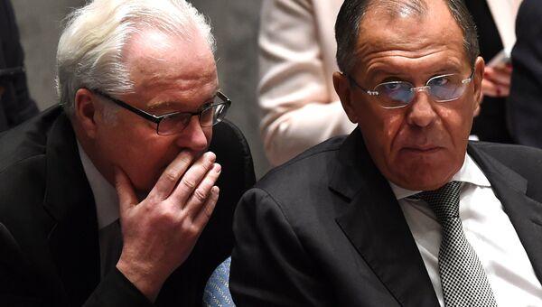 Виталий Чуркин и Сергей Лавров на заседании Совета Безопасности ООН