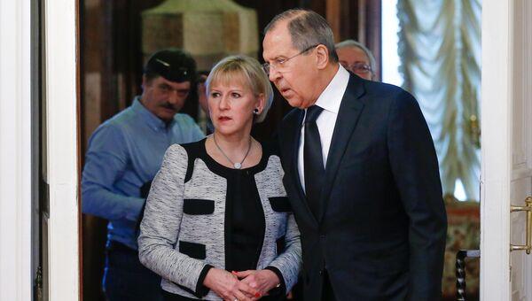 Министр иностранных дел РФ Сергей Лавров и министр иностранных дел Королевства Швеции Маргот Вальстрём во время встречи в Москве. 21 февраля 2017