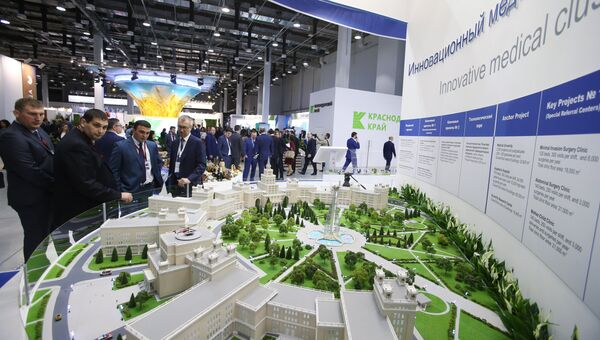 Стенд инновационного медицинского кластера в Кавказских Минеральных водах на выставке Российского инвестиционного форума в Сочи