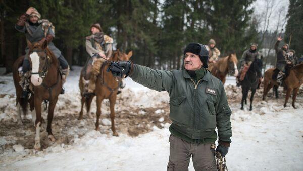 Актеры готовятся к съемки эпизода фильма Вещий Олег