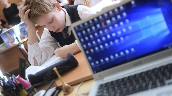 Ученик во время электронного урока в школе. Архивное фото