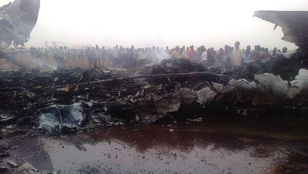 Место крушения самолета в Южном Судане
