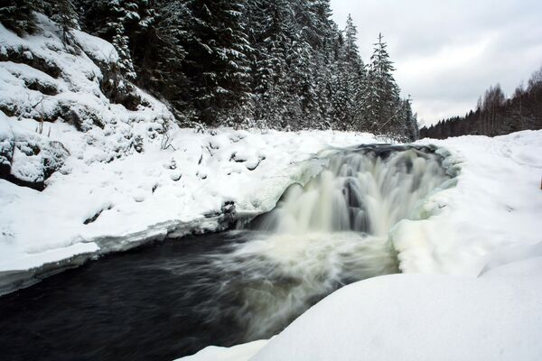 Водопад Кивач на территории государственного заповедника в Карелии