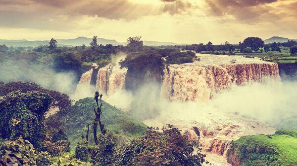Водопад Тис-Ысат на реке Голубой Нил в Эфиопии