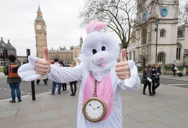 Человек в костюме Белого Кролика у здания Парламента в Лондоне во время акции протеста против выхода Великобритании из Европейского Союза