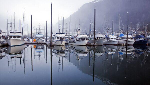Ранее туманное утро в гавани Аврора в Джуно, Аляска. Архивное фото