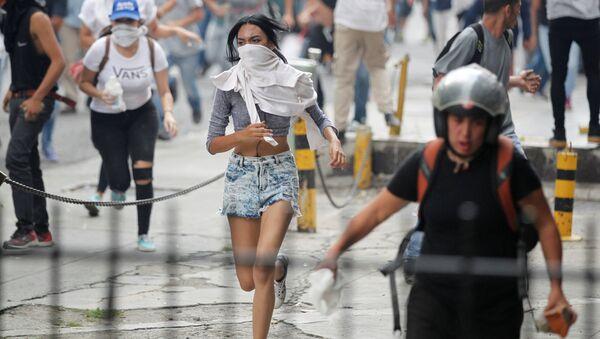Акция протеста против президента Венесуэлы Николаса Мадуро в Каракасе, Венесуэла