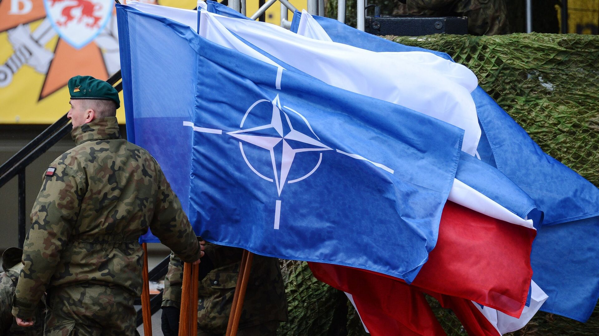 Церемония приветствия многонационального батальона НАТО под руководством США в польском Ожише - РИА Новости, 1920, 14.06.2021