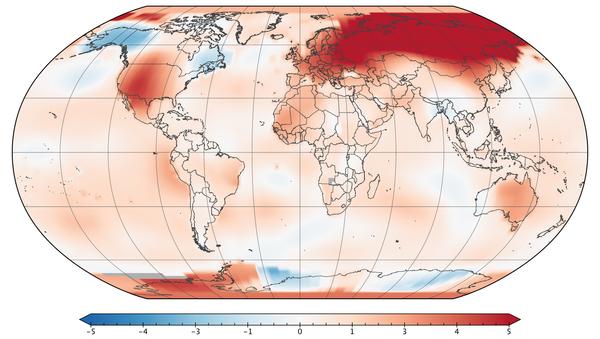 Карта Земли с температурными аномалиями в марте