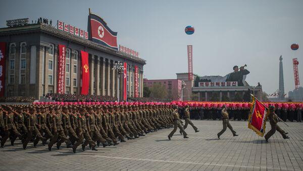 Праздничные мероприятия, посвященные 105-й годовщине со дня рождения Ким Ир Сена, в КНДР. Архивное фото
