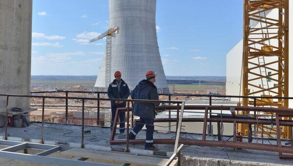 Рабочие на строительной площадке Белорусской АЭС. Архивное фото
