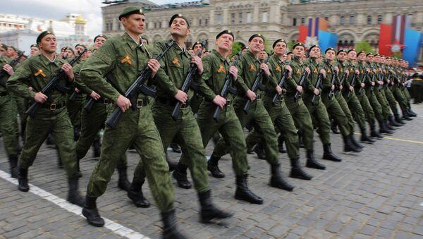 Парадный расчет Сухопутных войск вооруженных сил РФ. Архивное фото