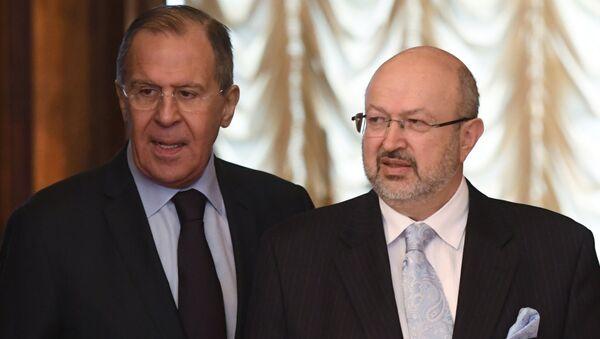 Министр иностранных дел РФ Сергей Лавров и генеральный секретарь ОБСЕ Ламберто Заньер. 25 апреля 2017