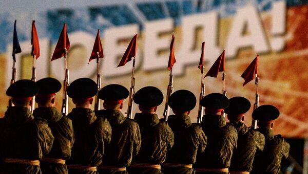 Военнослужащие на репетиции парада Победы на Красной площади в Москве