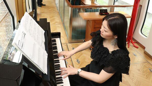 Живая музыка в одном из вагонов японского поезда класса люкс Shiki-Shima