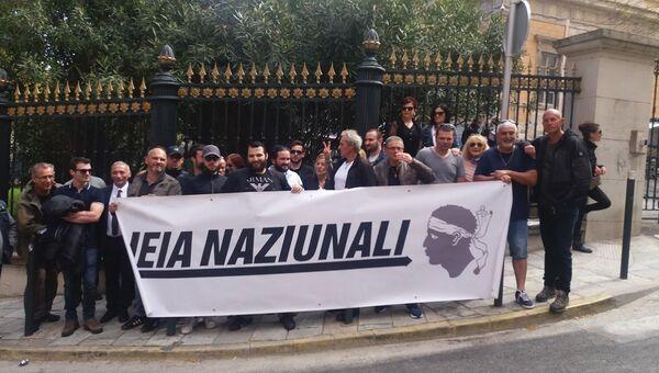 Активисты корсиканской национал-патриотической группы Leia Naziunale