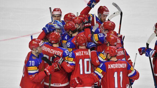 Игроки сборной России на чемпионате мира по хоккею. Архивное фото