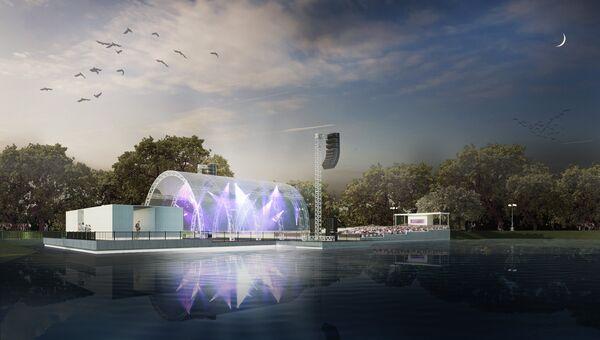 Сценический комплекс Зеленый театр ВДНХ. Сцена на воде. Архивное фото