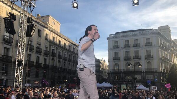 Лидер партии Podemos Пабло Иглесиас на митинге в поддержку отставки премьера Мариано Рахоя, 20 мая 2017