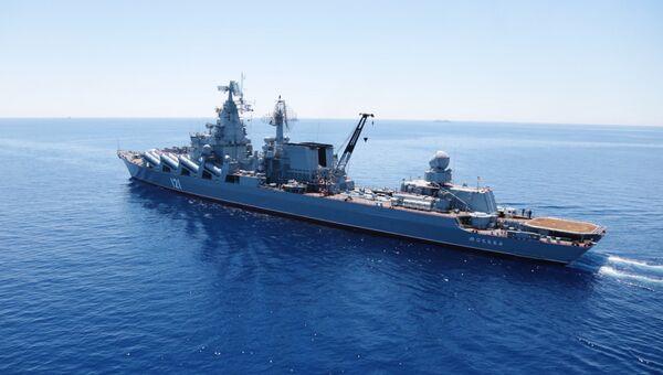 Гвардейский ракетный крейсер (ГРКР) Москва во время совместных военных учений России и Китая в Средиземном море. Архивное фото