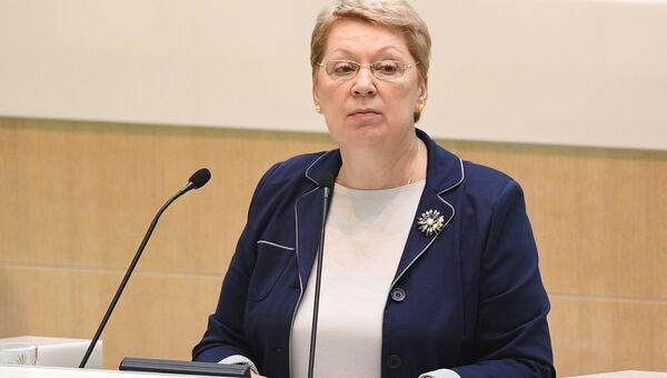 Министр образования и науки РФ Ольга Васильева во время заседания Координационного совета при президенте РФ. 29 мая 2016