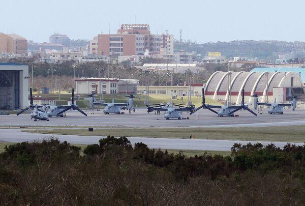 Самолеты США MV-22 Osprey на военной базе Футэмма, остров Окинава