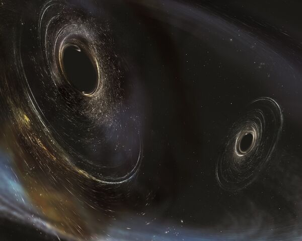 Так художник представил себе черные дыры в трех миллиардах световых лет от Земли