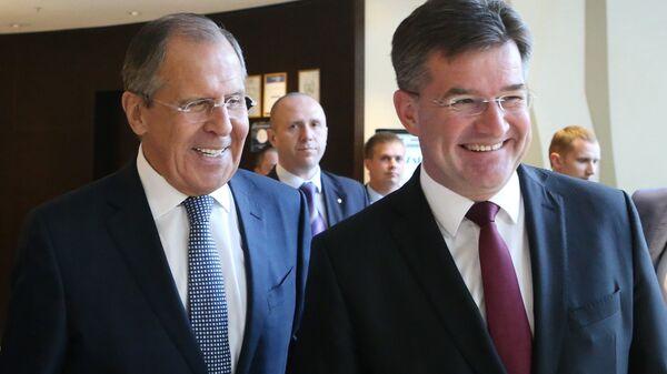 Министр иностранных дел РФ Сергей Лавров и министр иностранных дел Словакии Мирослав Лайчак во время встречи в Калининграде. 6 июня 2017