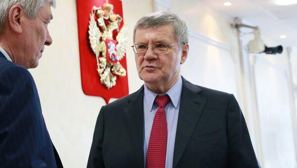 Генеральный прокурор Российской Федерации Юрий Чайка во время слушаний на тему Предотвращение вмешательства во внутренние дела РФ. 7 июня 2017