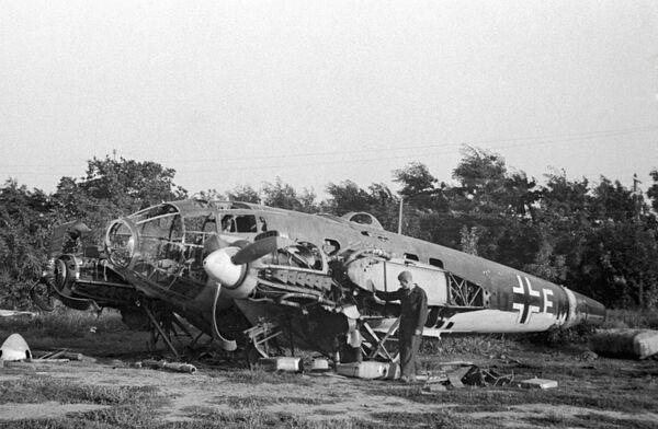 Один из первых немецких самолетов, сбитых под Одессой